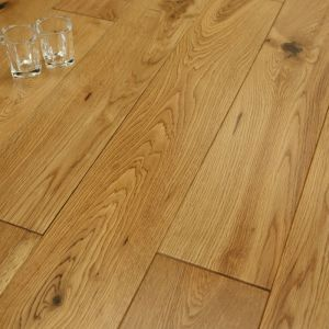 Causeway Solid Wood Flooring, Smooth Satin Lacquered Oak, 18mm x 125mm x RL