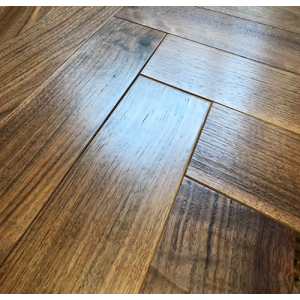 Brushed Walnut Noce Herringbone Engineered Parquet Wood Flooring 18/4mm x 450mm