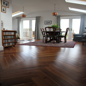 Hardwood Walnut Noce Herringbone Parquet Engineered Wood Flooring